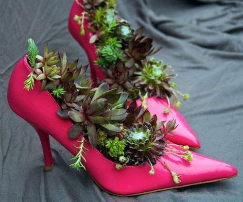 عکسهای جالب استفاده از کفشهای کهنه برای گلدان