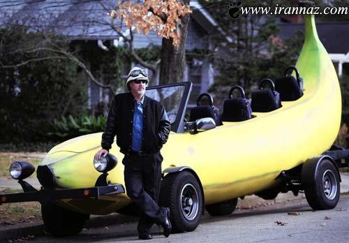 سفر به دور دنیا با یک ماشین به شکل موز (عکس)