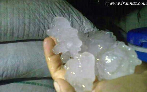 بارش تگرگ نیم الی یک کیلویی در جنوب ایران (عکس)