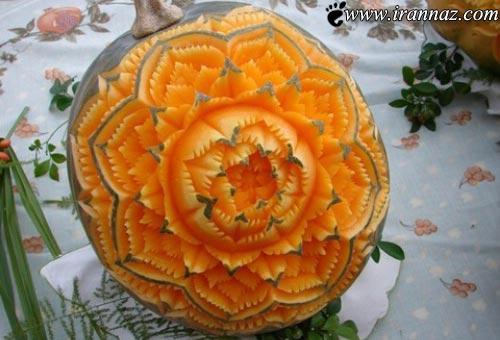 عکس های هنر هندوانه آرایی و میوه آرایی برای شب یلدا