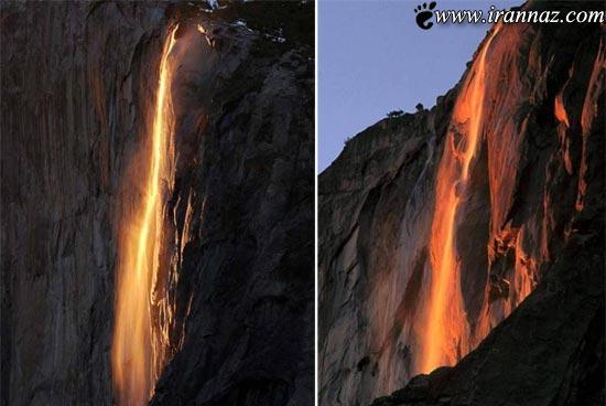 آبشار آتشین، چشم اندازی نادر و بسیار زیبا در جهان!