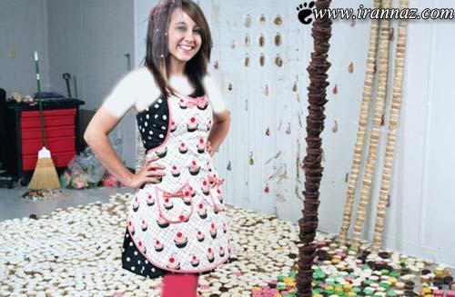 هنرنمایی بسیار جالب یک دختر دانشجو با کیک (عکس)