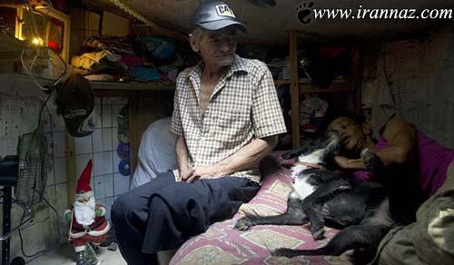 زندگی مردی با همسر و سگش در فاضلاب! (تصویری)