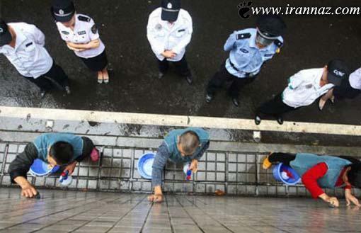 مجازات بسیار جالب تبلیغات غیر قانونی در چین(تصویری)