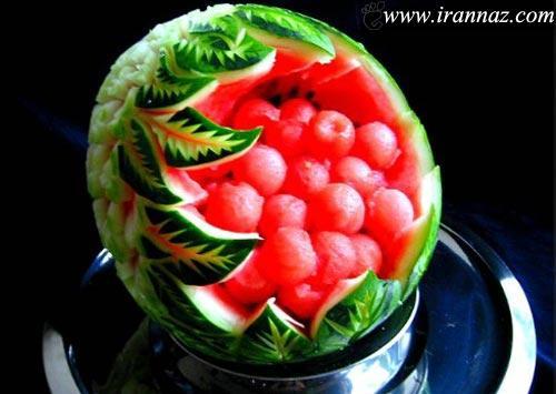 عکسهایی از هنر هندوانه و میوه آرایی برای شب یلدا