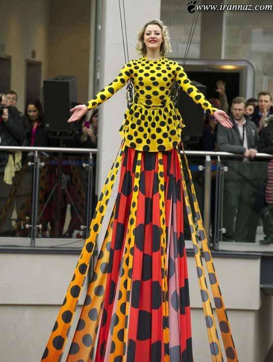 بلندترین لباس مجلسی جهان بر تن خانم بندباز مشهور!