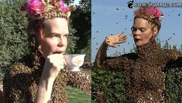 رقص عجیب این خانم در سوز نیش 12 هزار زنبور!!