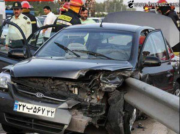 تصادف وحشتناک خانم مشهدی با گاردریل (تصاویر)