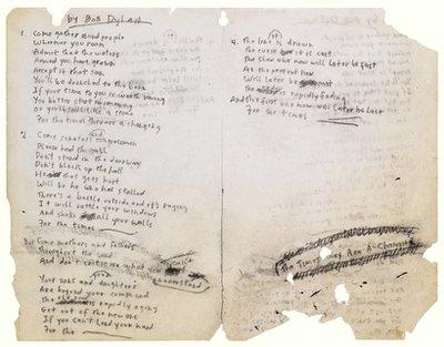 حراج دستنویس ترانههای باب دیلن