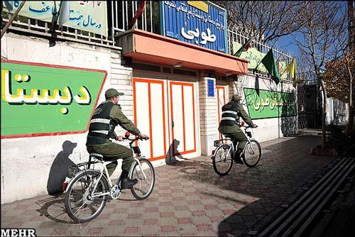 عکس هایی از پلیس دوچرخه سوار در تبریز